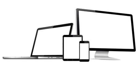 Responsive web design computer display, laptop and tablet pc with mobile phone isolated. Vector illustration.