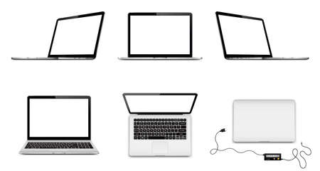 Set of vector laptops with blank screen in different positions