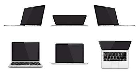 Set of modern laptop with blank screen isolated on white background  イラスト・ベクター素材