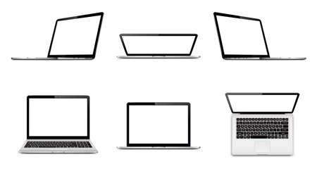Laptop set with empty space on white background