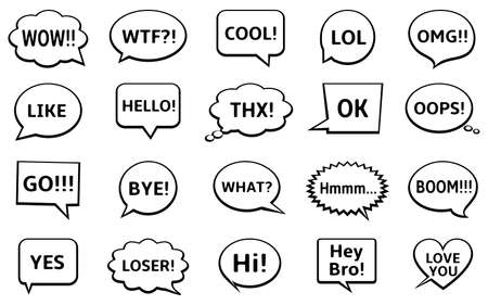 Speech bubbles set with short messages - yes, cool, omg, wow, hello, bye, and other.
