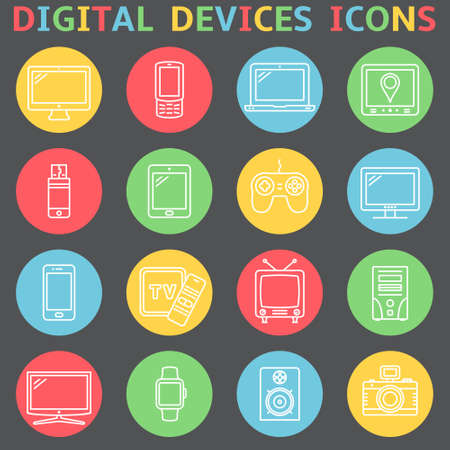 Thin line icons set. Icons for technology, electronic devices. Vector illustration.  イラスト・ベクター素材