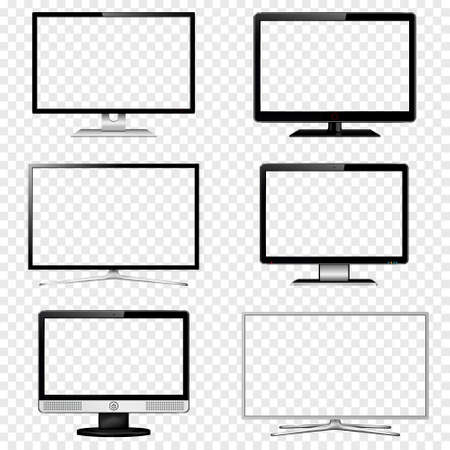 TV screen and computer monitor set with transparent display isolated on transparent background. Vector illustration.  イラスト・ベクター素材