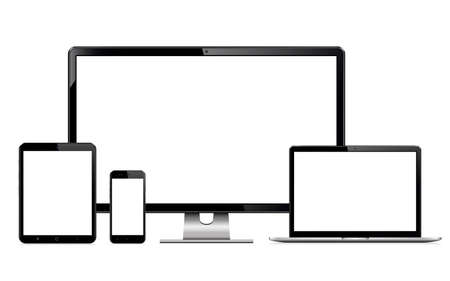 High quality illustration set of modern technology devices - computer monitor, laptop, digital tablet and mobile phone with blank screen