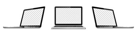 Set of vector laptops with transparent screen isolated. Perspective and front view.