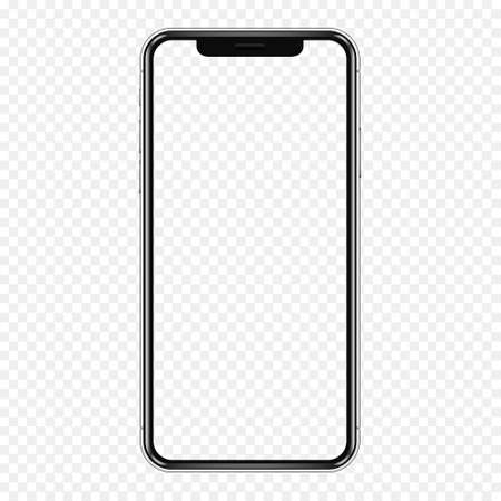 Smartphone mockup. Cellphone frame with transparent display isolated template.