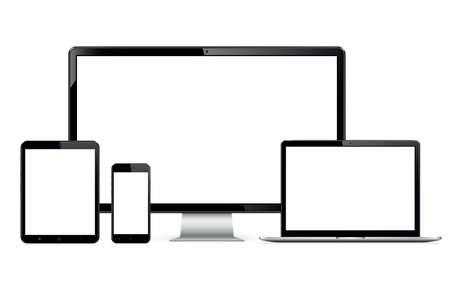 High quality illustration set of modern technology devices - computer monitor, laptop, digital tablet and smartphone with blank screen. Isolated on white background. Vector illustration.