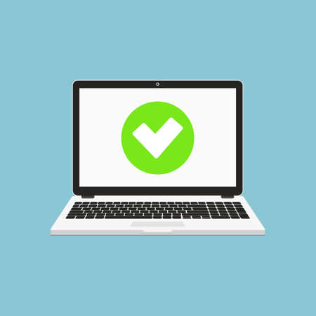 Laptop with checkmark or tick notification. Accept or approve checkmark. Flat design illustration. Illustration