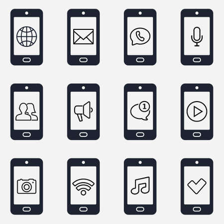 Smartphone icon set. Smartphone function icons. Vector illustration.