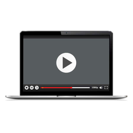 Realistic modern laptop isolated. Video player template. Vector illustration