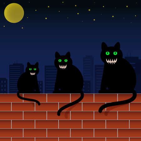 Family cats with green eyes and scary faces sitting on brick wall in city. Halloween theme vector illustration.
