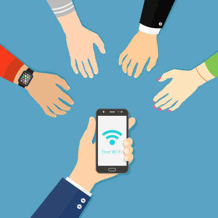 Hand holding black smartphone with Wi-Fi icon. People hands are reaching for free wi-fi. Flat style illustration.