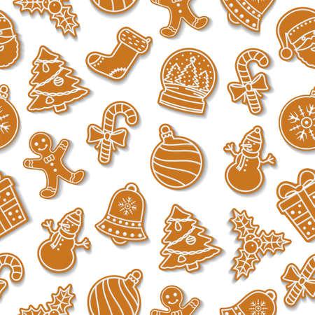 Modèle sans couture de Noël de vecteur avec des biscuits de pain d'épice