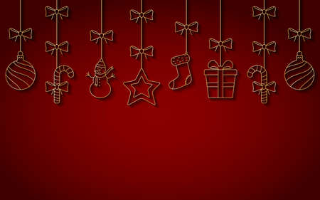 Christmas hanging line ornaments with shadow. Vector background