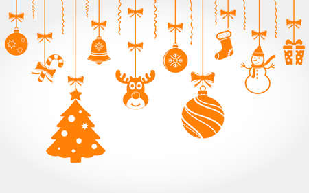 Christmas ornaments hanging. Christmas vector background.