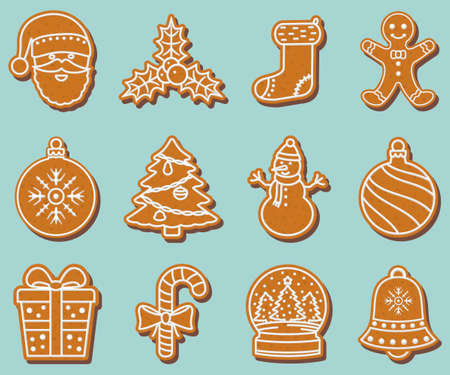 Christmas gingerbread cookies, winter holiday food. Vector illustration.