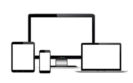Smartphone, tablet, laptop and desktop computer. Vector illustration of responsive web design. Çizim