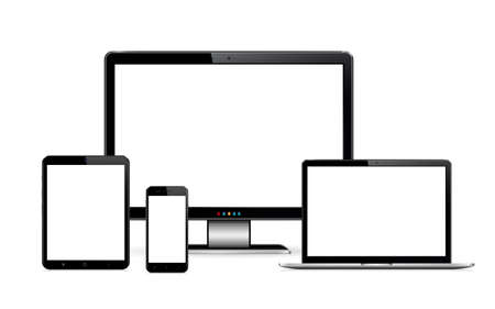 Smartphone, tablet, laptop and desktop computer. Vector illustration of responsive web design. Illustration