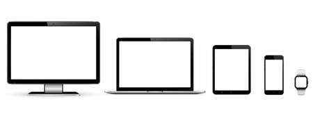 Set of blank screens with computer monitor, laptop, tablet, and smartphone