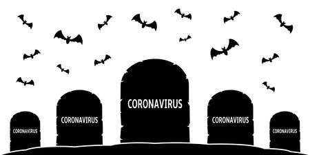 Coronavirus epidemic. Vector illustration concept of the cemetery of the dead from coronavirus Ilustrace