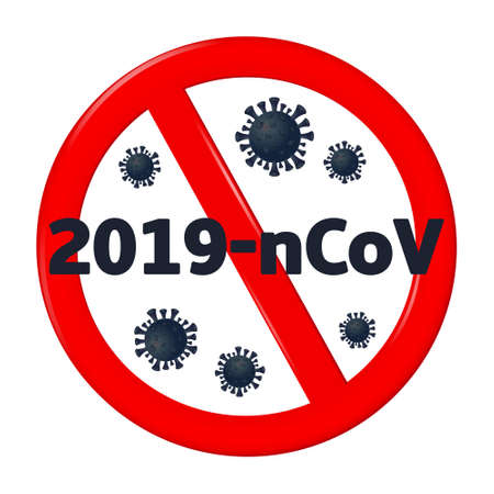 Stop coronavirus. Coronavirus 2019-nCoV is crossed out with red STOP sign