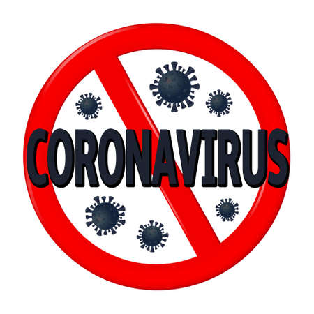 Abstract virus strain model Novel coronavirus 2019-nCoV is crossed out with red STOP sign Reklamní fotografie - 140282759