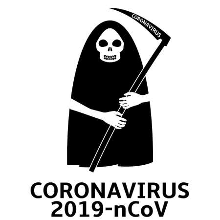 Coronavirus epidemic concept. Grim reaper or death vector illustration.