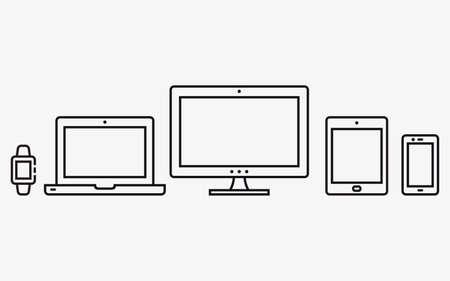 Responsive web design icons. Mobile phone, tablet, laptop, desktop computer. Vector illustration.