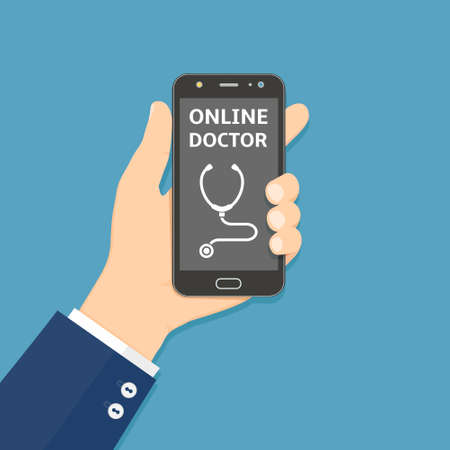 Hand holding smartphone with online doctor app on screen. Healthcare mobile service concept. Vector illustration in flat style