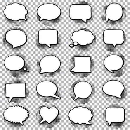 Hand drawn set of speech bubbles. Halftone shadows. Vector illustration Vetores