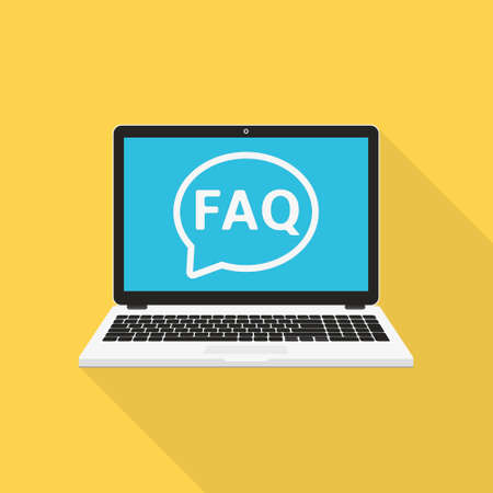 Laptop with Frequently Asked Questions solution concept, flat design vector illustration