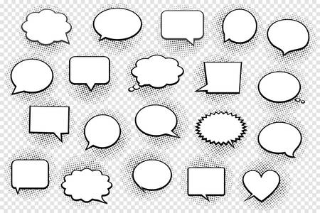 Empty white speech bubbles with halftone shadows on transparent background. Vector Illustration.