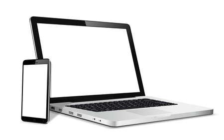 Laptop- und Telefonmodell. Vektorillustration für ansprechendes Webdesign.