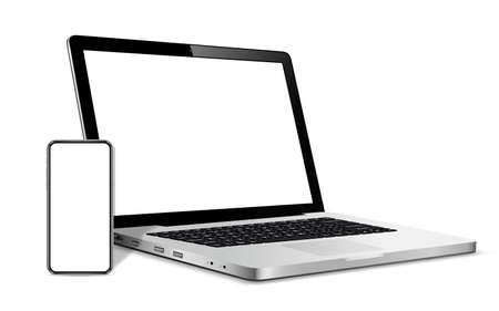 Modern smart phone and laptop blank screen