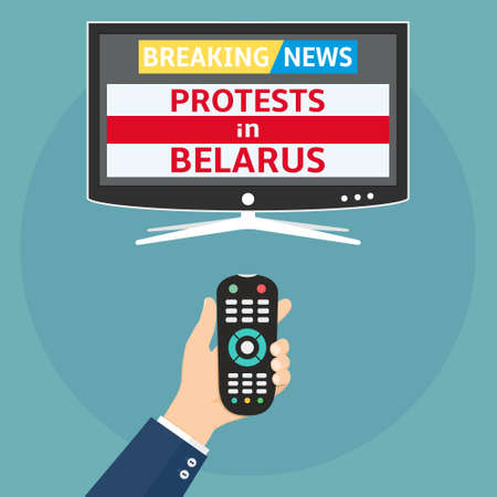 Protests in Belarus breaking news flat design concept. Human holding remote control and watch smart tv with protests in Belarus breaking news.
