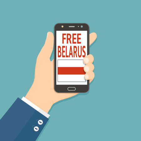 Hand hold smartphone with Free Belarus text on screen. Protest after presidential elections 2020 in Belarus. Vector illustration