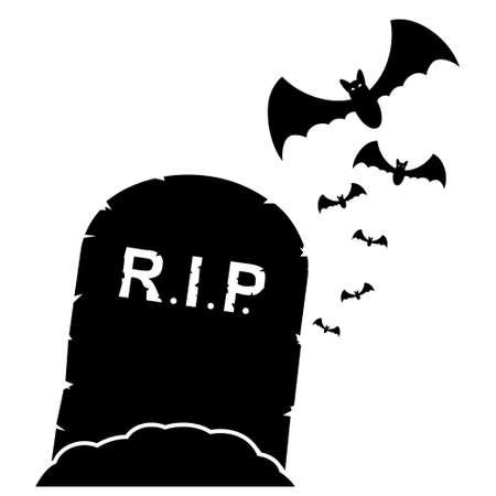 Gravestone with bats black illustration
