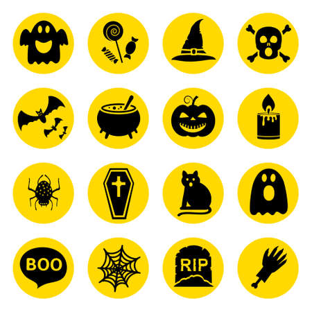 Simple silhouettes vector icons set for Halloween 矢量图像