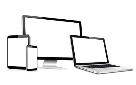 Modern computer monitor, laptop, digital tablet and mobile phone with blank screen. Isolated on white background.