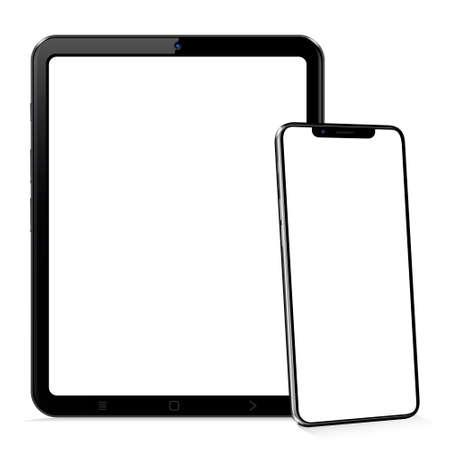 Tablet computer and smartphone template for adaptive design presentation Ilustração