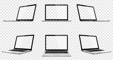 Laptop set mock up with transparent screen isolated Illusztráció