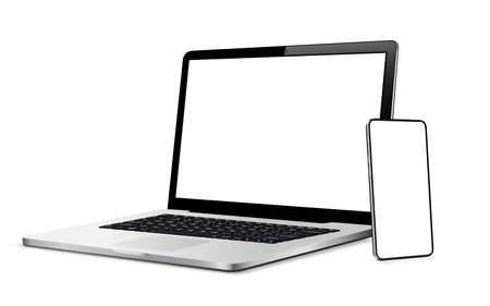 Modern smart phone and laptop with blank touch screen Vector Illustratie