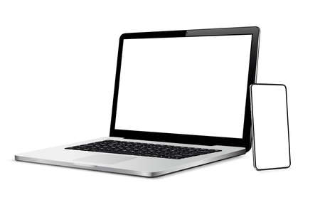Laptop and phone mock up. Vector illustration for responsive web design.