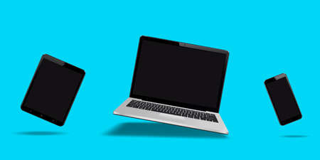Flying laptop, mobile and tablet with blank screen isolated