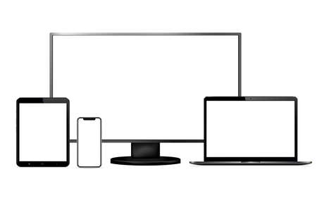 Display, laptop, tablet, phone with blank screen