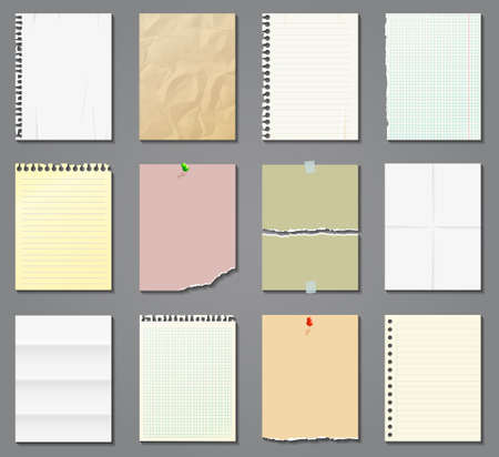 Blank paper sheets in a cage, in a line and aged on gray background. Vector illustration.