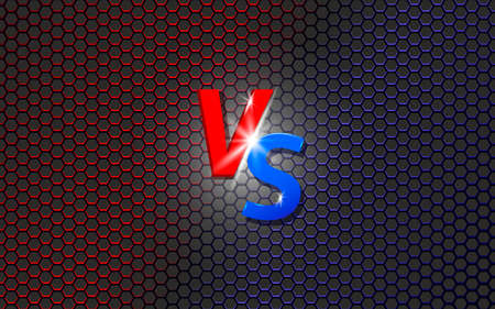 Versus screen. Fight background. Red vs blue.