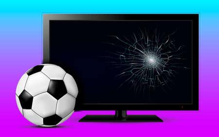 Soccer ball and broken tv screen