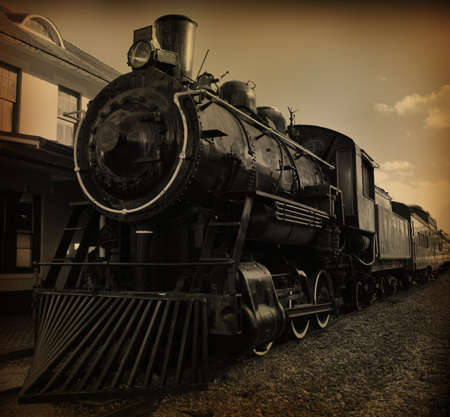 steam locomotives: Sepia toned shot of old fashioned steam train