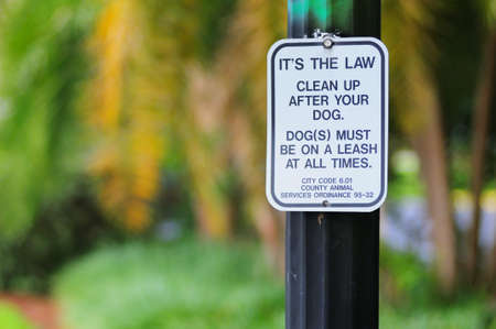 Pool waarschuwing wilt opschonen na uw hond aanmelden. Ondiepe hoogte van veld met vervaagde achtergrond.